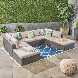 Santa Rosa Outdoor 6 Seater Wicker Sofa Set with Aluminum Frame by Christopher Knight Home
