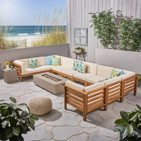 Oana Outdoor 12-Piece U-Shaped Acacia Wood Sectional Sofa Set with Fire Pit by Christopher Knight Home