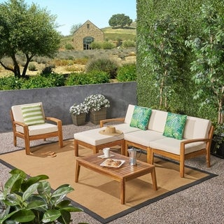 Link to Grenada Outdoor 4-Seater Acacia Wood Sectional Sofa Set by Christopher Knight Home Similar Items in Outdoor Loveseat