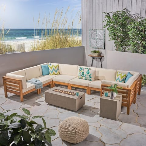 Oana Outdoor U-Shaped 8 Seater Acacia Wood Sectional Sofa Set with Fire Pit by Christopher Knight Home