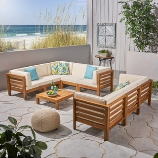 Oana Outdoor 9-Piece Acacia Wood Sectional Sofa Set with Coffee Table by Christopher Knight Home