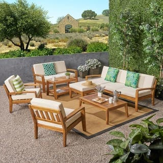 Grenada Outdoor 7-Seater Acacia Wood Sectional Sofa Set by Christopher Knight Home