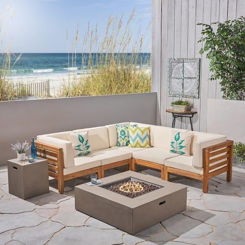 Oana Outdoor 7-Piece V-Shaped Acacia Wood Sectional Sofa Set with Fire Pit by Christopher Knight Home