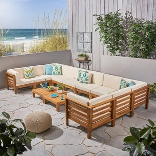 Oana Outdoor 12-Piece U-Shaped Acacia Wood Sectional Sofa Set by Christopher Knight Home