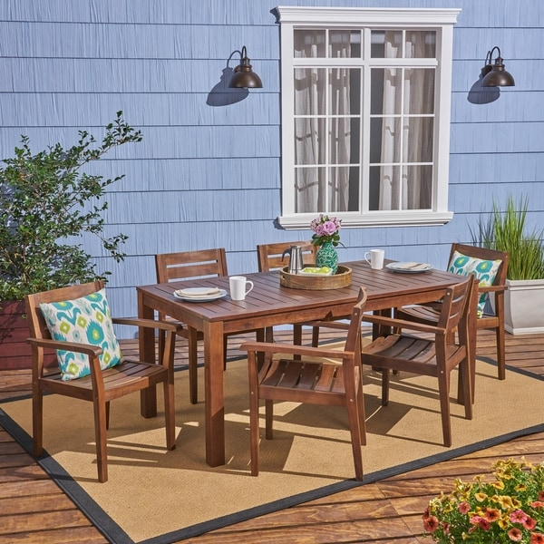 Shop Magnolia Outdoor Rustic Acacia Wood 7 Piece Dining