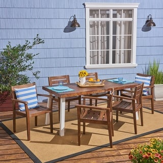 Jackson Outdoor Rustic Acacia Wood 7 Piece Dining Set by Christopher Knight Home