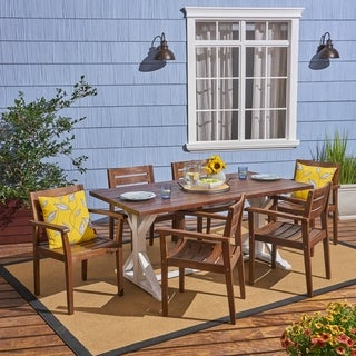 Kentwood Outdoor Rustic Acacia Wood 7 Piece Dining Set by Christopher Knight Home