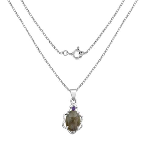 7.06 Carat Labradorite and Amethyst 925 Sterling Silver Necklace