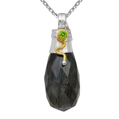 Handcrafted Two-tone 925 Silver 30.15 Ct Labradorite and Peridot Drop Pendant