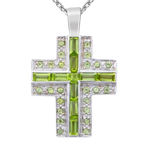 Peridot Sterling Silver Octagon Chain Pendant by Essence Jewelry