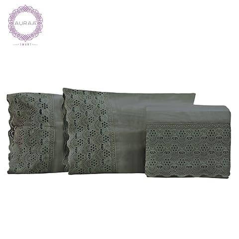 AURAA Smart 600 TC Victoria Lace Cotton Rich, 4 Piece Sheet Set