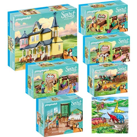 PLAYMOBIL Spirit Riding Free Mega Toys Kit Includes Luckys Happy Home, Bedroom Dad and Wagon