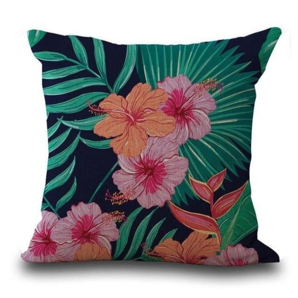 Butterfly Flower Tropical Leaves Print Cushion Cover 21301862-476