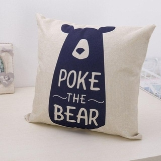 Cute Bear Cotton Linen Decorative Pillow Case 21305955-843