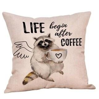 Coffee Print Ocean Beach Sea Cotton Linen Pillow Case 16466462-172