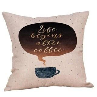 Coffee Print Ocean Beach Sea Cotton Linen Pillow Case 16466462-174