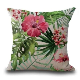 Butterfly Flower Tropical Leaves Print Cushion Cover 21301862-475
