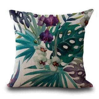 Butterfly Flower Tropical Leaves Print Cushion Cover 21301862-477