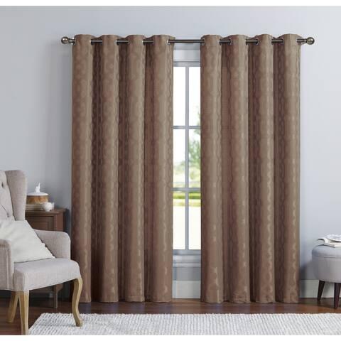 Copper Grove Svetlogorsk Jacquard Grommet Top Single Curtain Panel