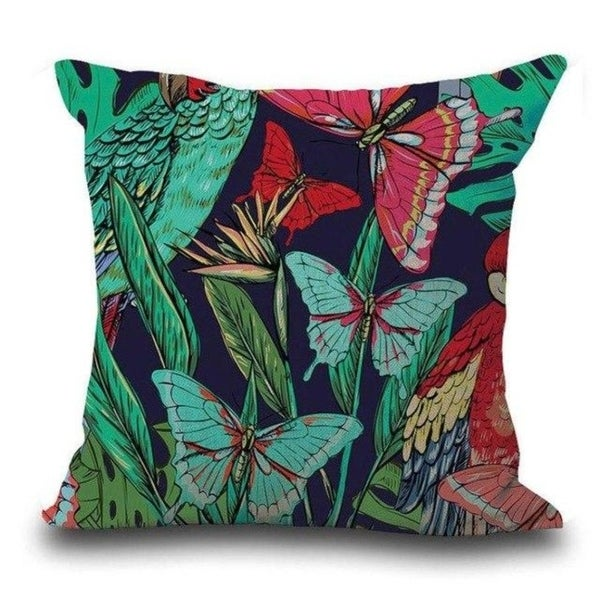 Butterfly Flower Tropical Leaves Print Cushion Cover 21301862-474