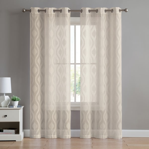 Shop VCNY Home Ogee Sheer Grommet Top Single Curtain Panel