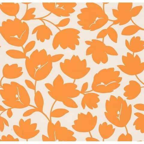 Freesia Orange Fun Floral Wallpaper