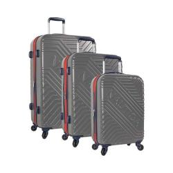 Nautica Naval Pier 3-Piece Hardside Spinner Set Grey/Orange