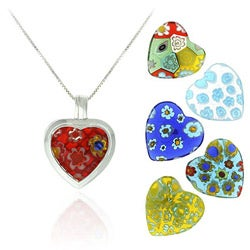 Glitzy Rocks SS Murano Glass Interchangeable Heart Pendant Set