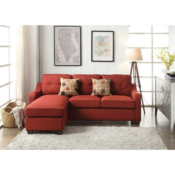 Shop Venta Red Linen Sectional With Reversible Chaise And