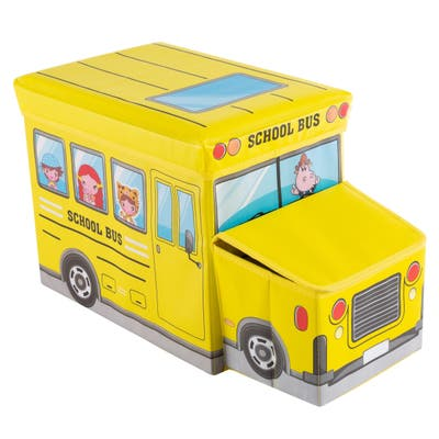 Collapsible School Bus Toybox - Folding Storage Bin Playroom, Bedroom or Nursery Organizer for Stuffed Animals by Hey! Play!