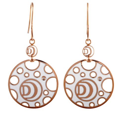 Damiani Damianissima Rose Gold 1-Diamond White and Black Ceramic Large Disk French Wire Earrings