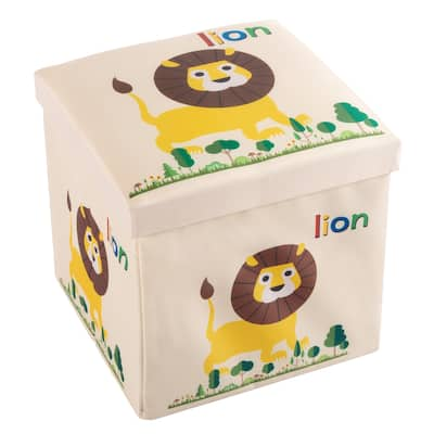 Cushion Top Collapsible Toy Box and Ottoman - Folding Bin Playroom, Bedroom or Nursery Organizer by Hey! Play!