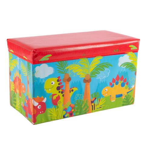 Collapsible Dinosaur Toy Box - Folding Storage Bin Playroom, Bedroom or Nursery Organizer Stuffed Animals by Hey! Play!