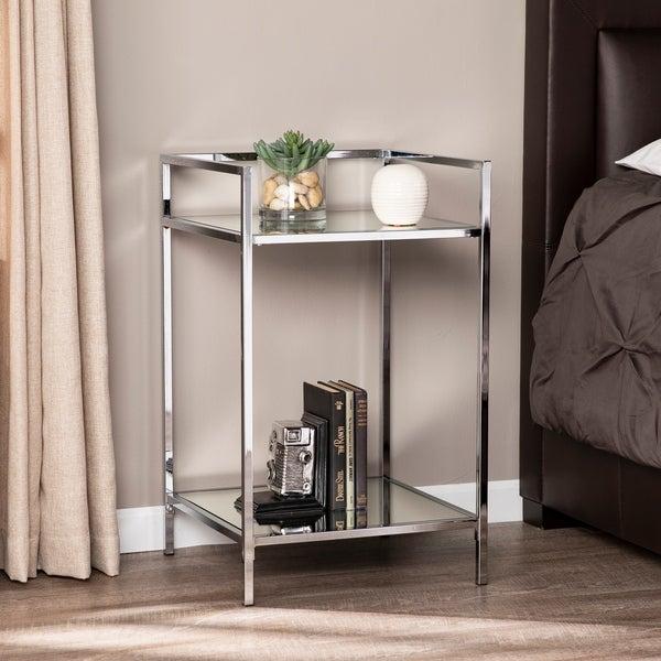 Silver Orchid Hinding Mirrored Bedside Table