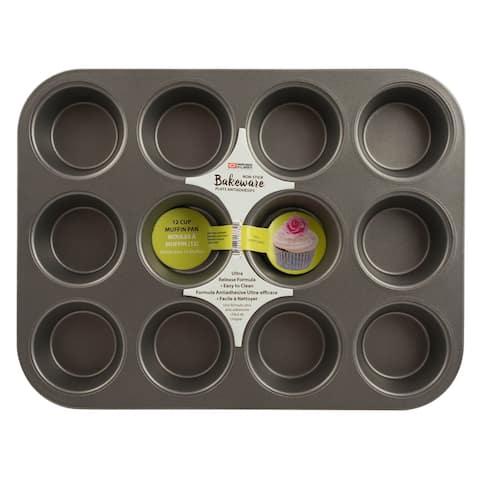 Range Kleen B14M12 Non-stick Muffin Pan - 12 Cup - Black