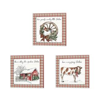 Anne Tavoletti 'Holiday on the Farm Plaid' Canvas Art (Set of 3)