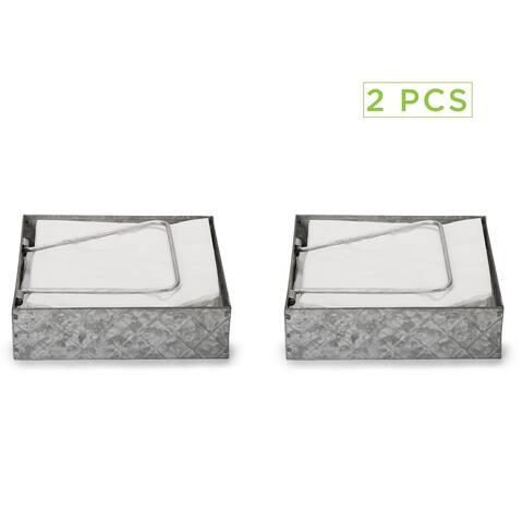 Mind Reader Galvanized Flat Counter Top Napkin Holder Storage Organizer with Pivoted Arm, Kitchen, Picnics, Silver - 2Pack