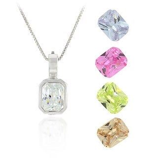 Icz Stonez Sterling Silver Multi Color CZ Pendant Set