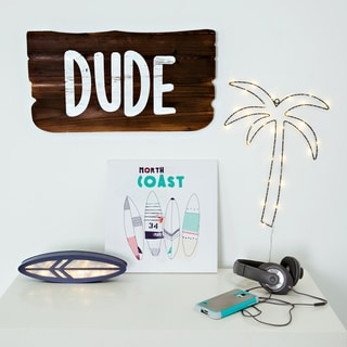 Asher Home Dude Weathered Wood Plank Wall Sign