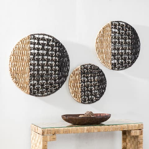 The Curated Nomad Terraza 2-tone Woven Water Hyacinth Wall Decor (Set of 3)