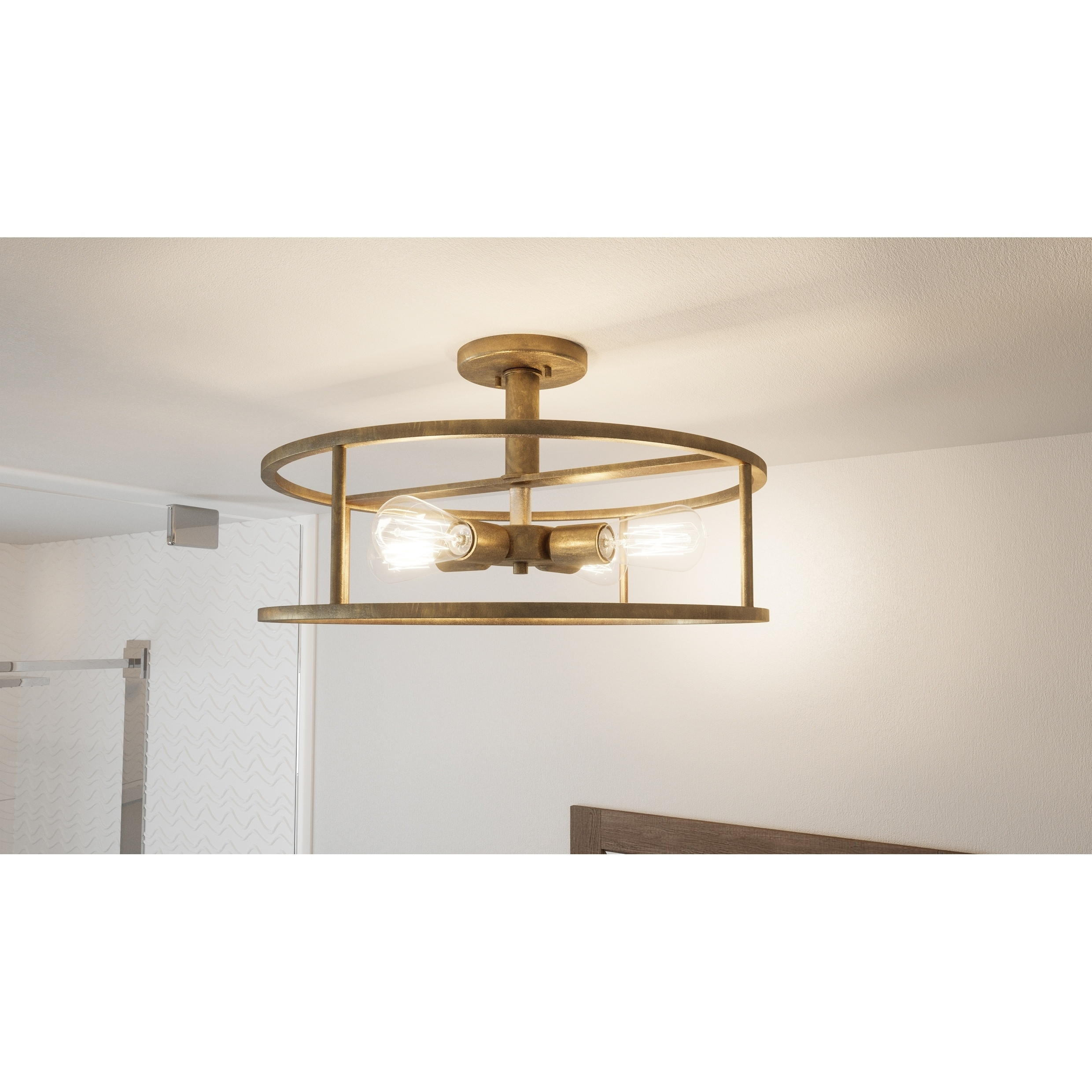 Shop Black Friday Deals On Carson Carrington Hackbol Brass 4 Light Semi Flush Mount Overstock 25601142