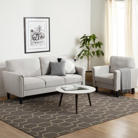 Porch & Den Coleto Fabric Sofa and Armchair Set