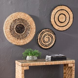 The Curated Nomad Terraza Swirl Woven Water Hyacinth Wall Art (Set of 3)