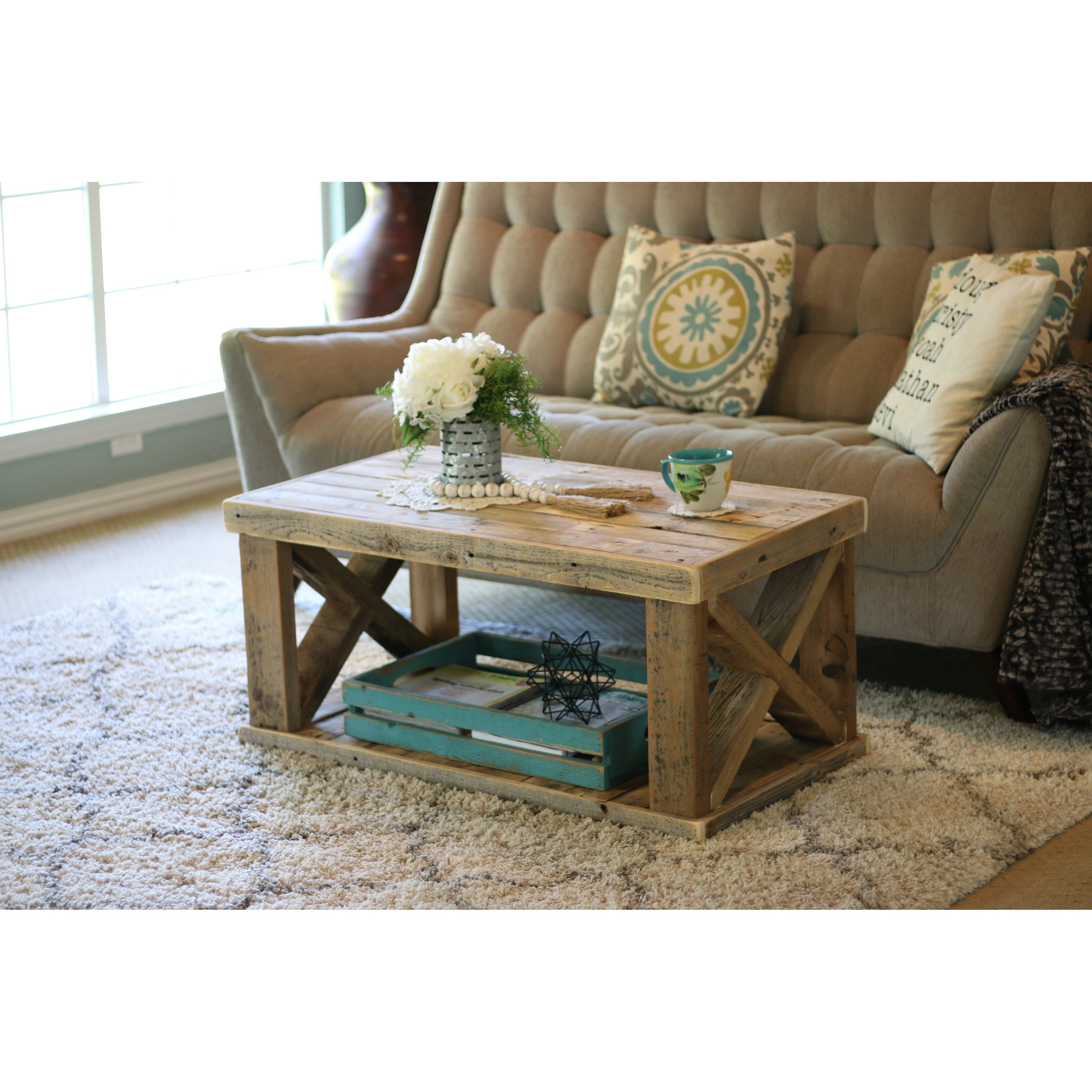 Natural Wood Coffee Table.Natural Wooden X Leg Coffee Table