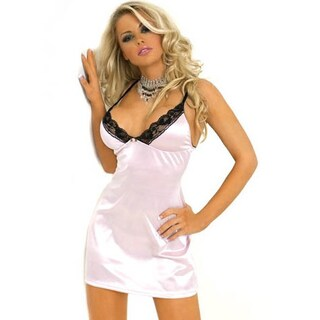 Floral Lace Trimmed Stretch Satin Babydoll