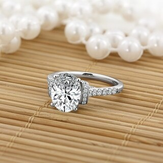 14k Gold Oval Shaped 2 1/4ct Moissanite and 3/8ct TDW Diamond Engagement Ring by Auriya