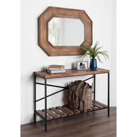 Kate and Laurel Hadrian Wood Octagon Wall Mirror - Brown - 31x41