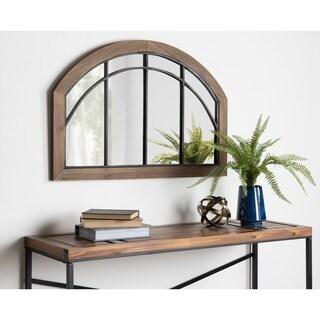 Kate and Laurel Haldron Wood Arch Mirror - Rustic Brown - 24x36