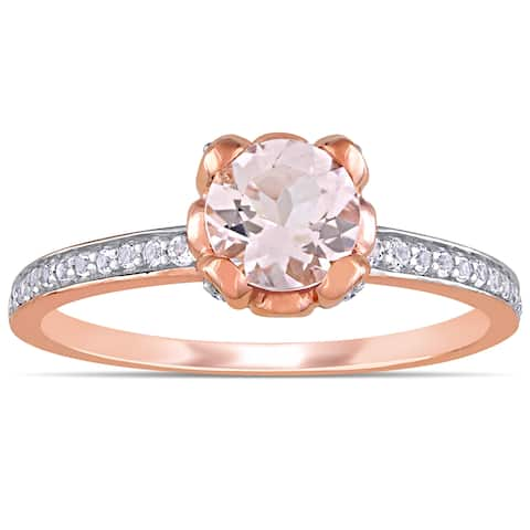 Miadora 10k Rose Gold Morganite and White Topaz Floral Accent Engagement Ring