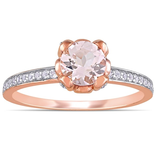 Clearance Sale Flower Morganite /& White Topaz Gemstone Silver Ring Size 9 10 11